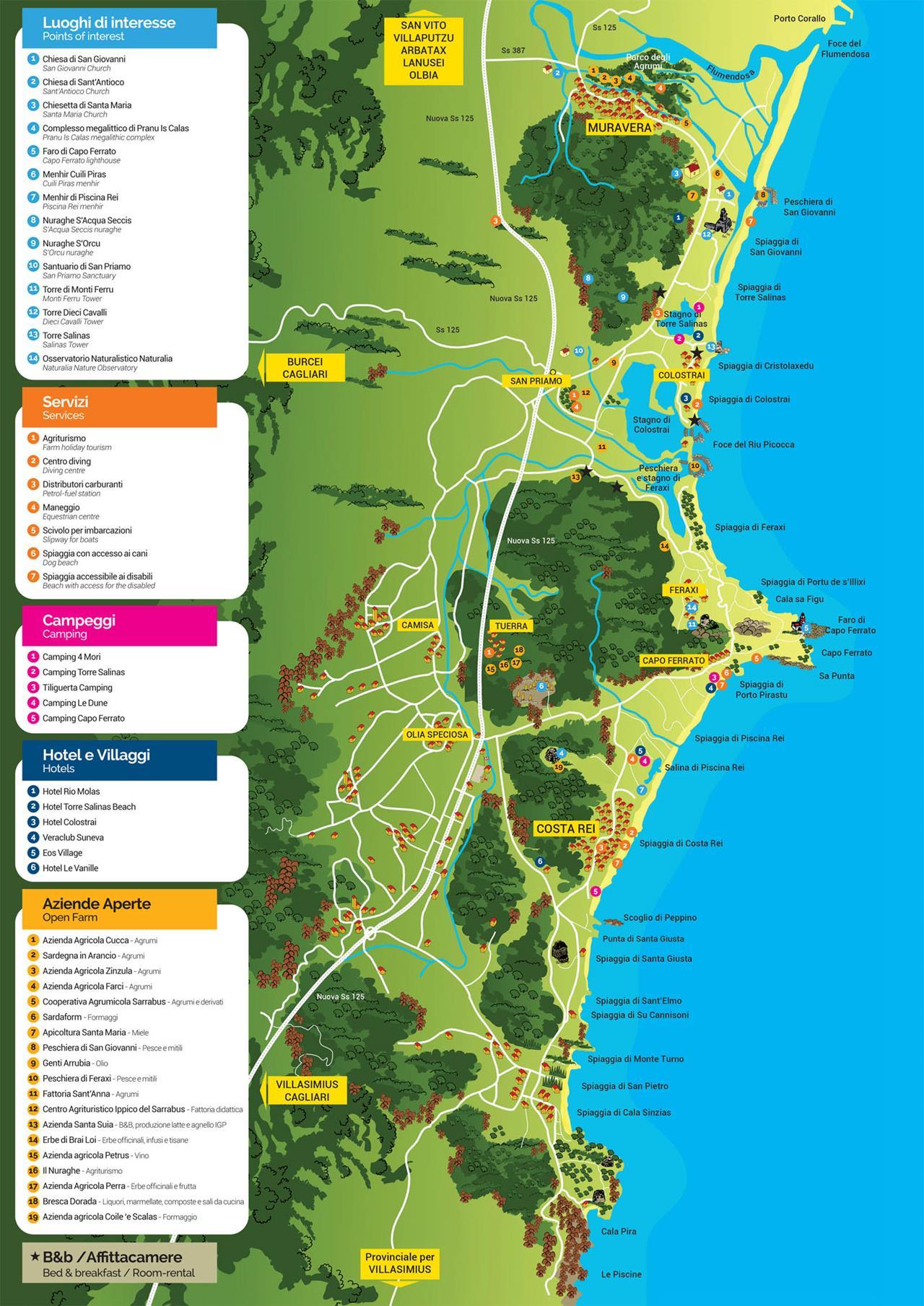 Cartina Sardegna Con Hotel.Cartina Spiagge Muravera Costa Rei